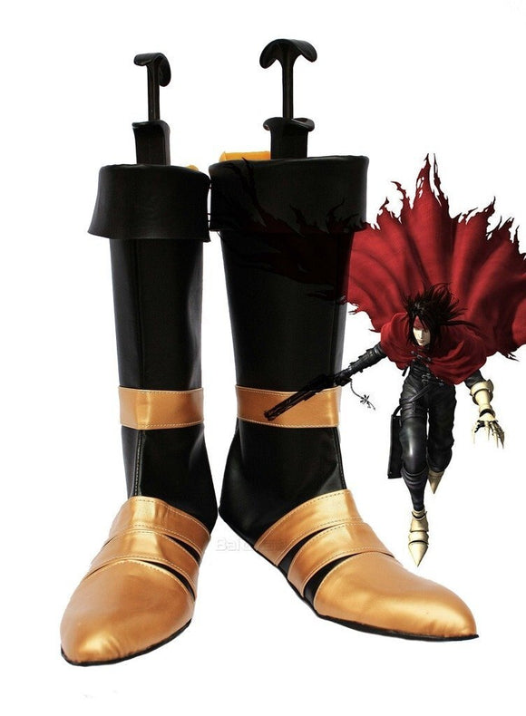 Dirge of Cerberus : Final Fantasy VII FF7 Vincent Valentine Cosplay Boots Black Shoes Custom Made