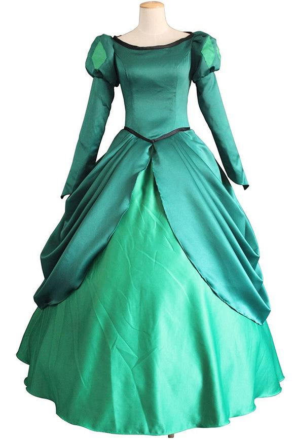 The Little Mermaid Princess Ariel Green Dress Cosplay Costume Custom Made