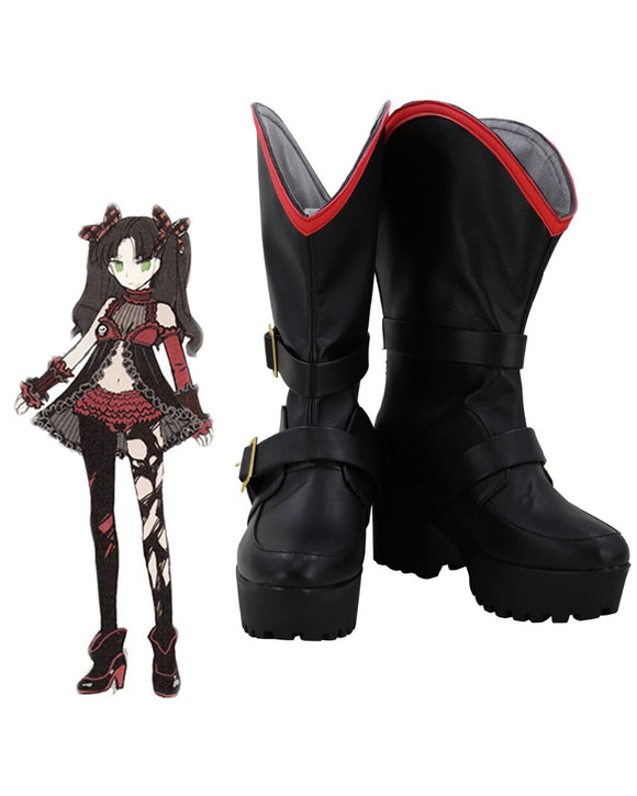 Fate EXTRA FGO Tohsaka Rin Queen Ver. Cosplay Boots Black Shoes Custom Made
