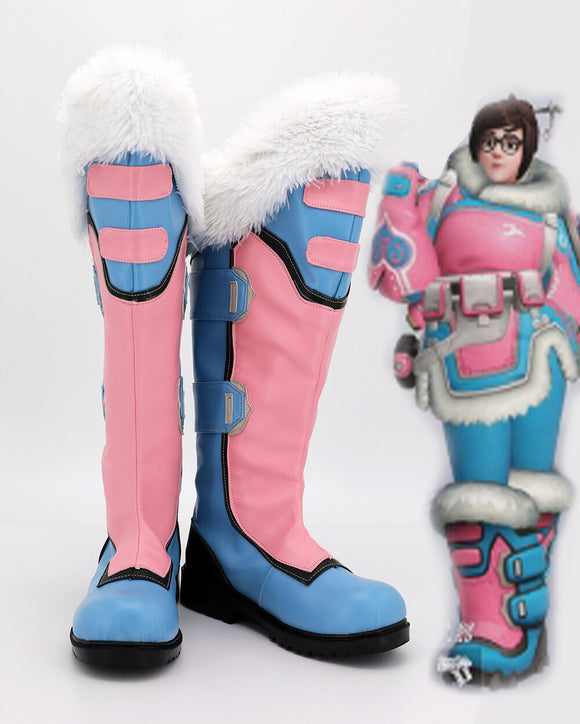 Customize Overwatch OW Mei Cosplay Boots Pink Shoes Halloween Carnival Cosplay Shoes Any Size