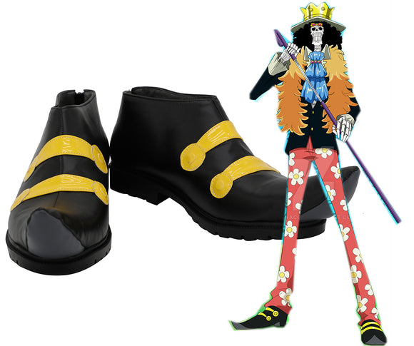 One Piece Soul King Brook Cosplay Shoes Black Boots Custom Made Any Size for Halloween Costume Accessories
