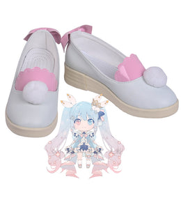 2019 Vocaloid Miku Winter Snow Cosplay Shoes White Boots Custom Made