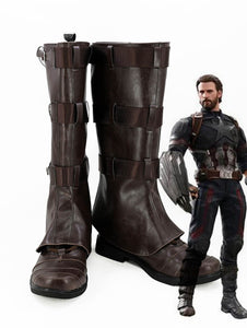 The Avengers 3 Infinity War Captain America Cosplay Boots Brown Shoes Custom Made