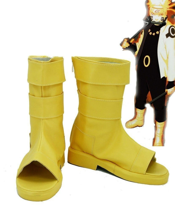 Naruto Anime Uzumaki Naruto Cosplay Boots Yellow Shoes Custom Made