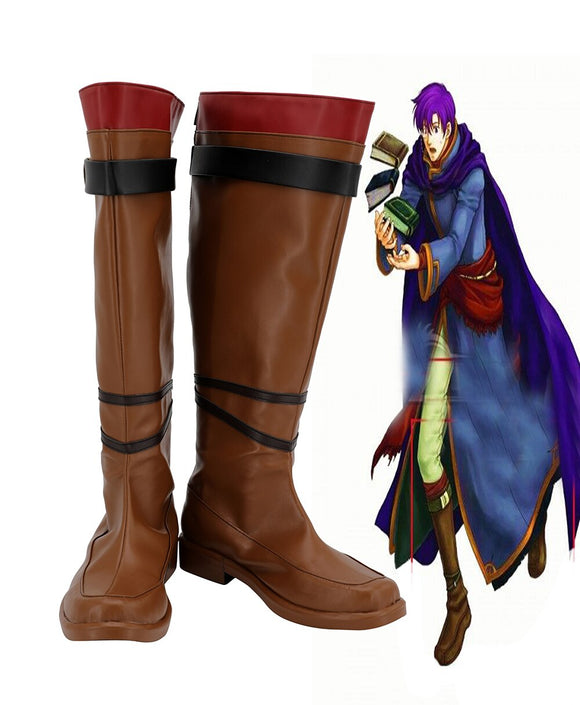 Fire Emblem: The Blazing Blade Canas Cosplay Boots Brown Leather Shoes Custom Made Any Size