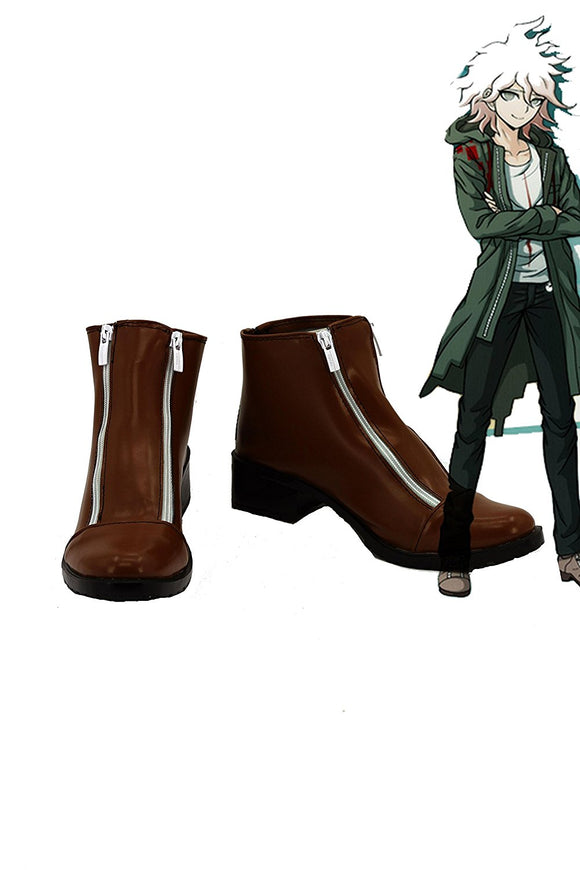 Danganronpa Nagito Komaeda Cosplay Boots Brown Shoes Custom Made