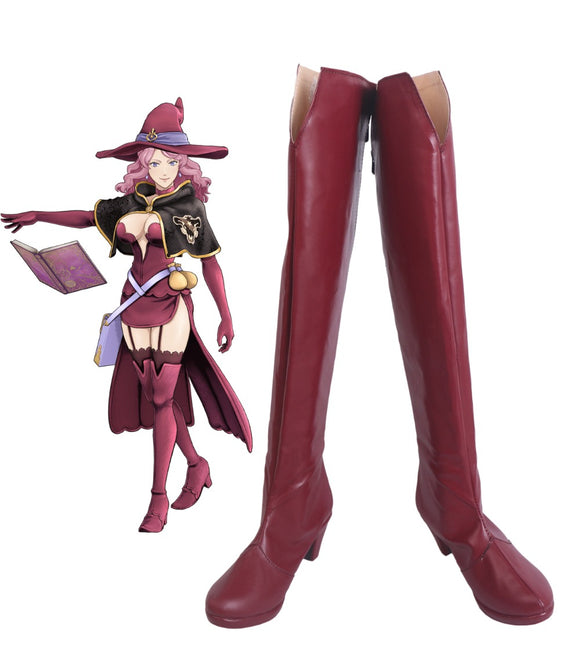 Black Clover Quartet Knights Vanessa Enoteca Cosplay Boots Red Shoes Vanessa Enoteca Over Knee Boots Custom Made