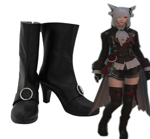 Final Fantasy XIV FF14 Black Mage Cosplay Boots Black Shoes Custom Made Leather Shoes