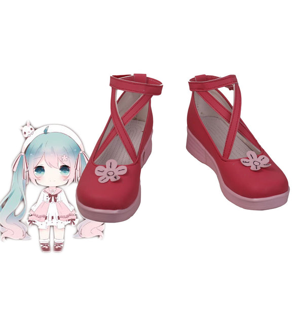 VOCALOID Hatsune Miku Cosplay Shoes Wedge Heel Boots Halloween Christmas Cosplay Shoes Custom Made