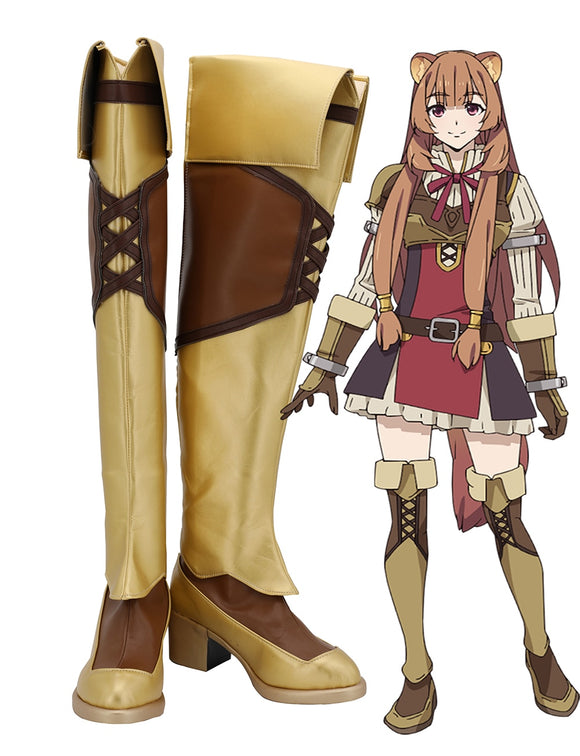 The Rising of the Shield Hero Raphtalia Cosplay Long Boots Leather Brown Shoes Custom Made for Unisex