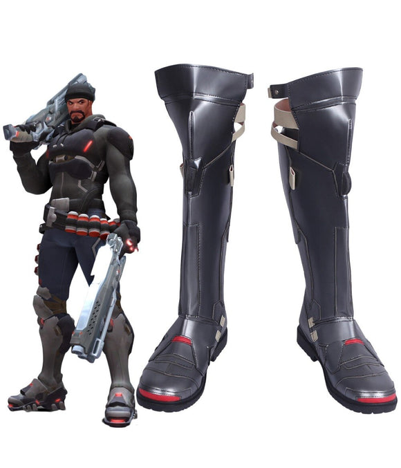 Overwatch OW Gabriel Reyes Cosplay Boots Black Shoes Custom Made Any Size