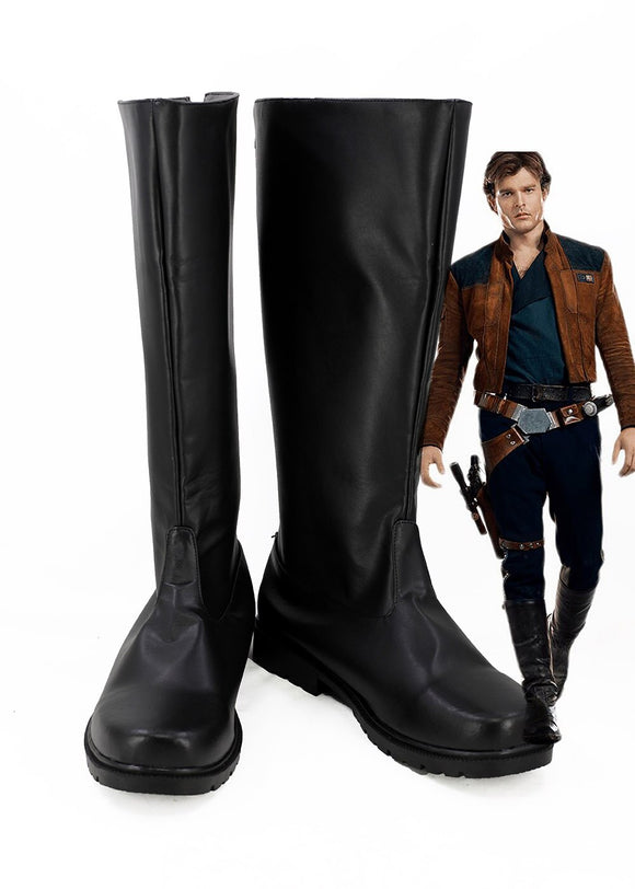 Solo: A Star Wars Story Han Solo Cosplay Boots Leather Shoes Black Custom Made