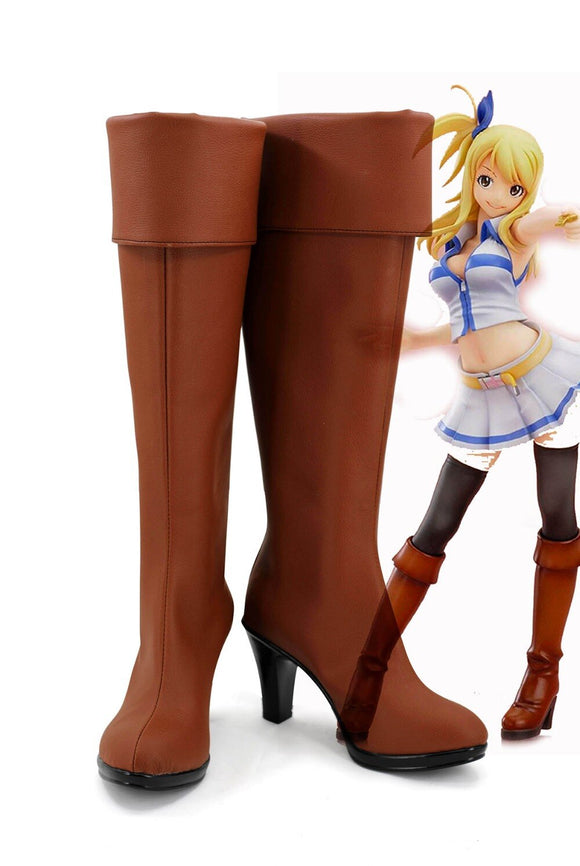 Fairy Tail Lucy Heartfilia Cosplay Boots Brown Shoes Custom Made