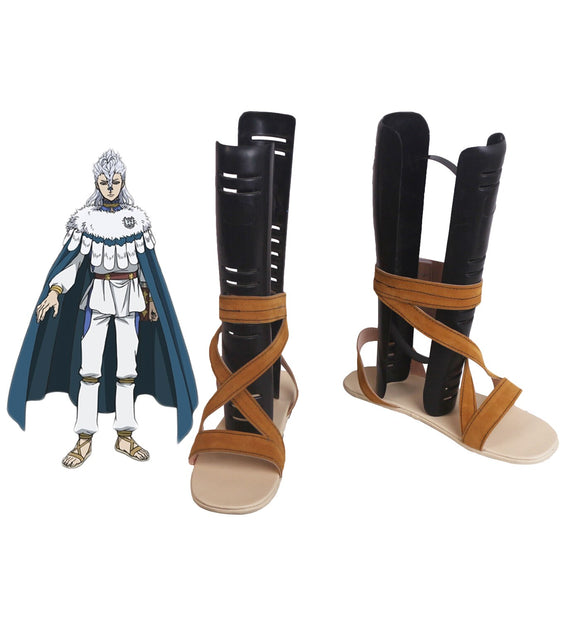 Black Clover Nozel Silva Cosplay Shoes Brown Sandals Custom Made Any Size