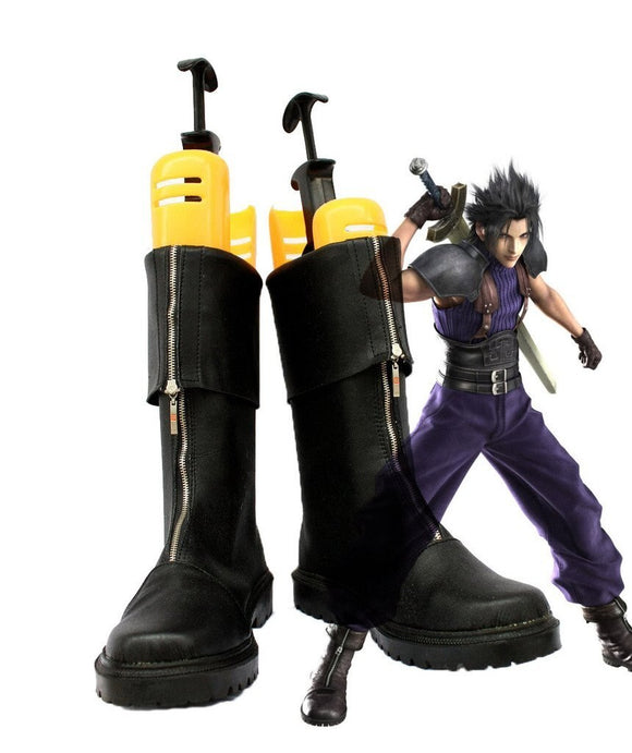 Crisis Core Final Fantasy VII FF7 Zack Fair Cosplay Boots Black Shoes Custom Made