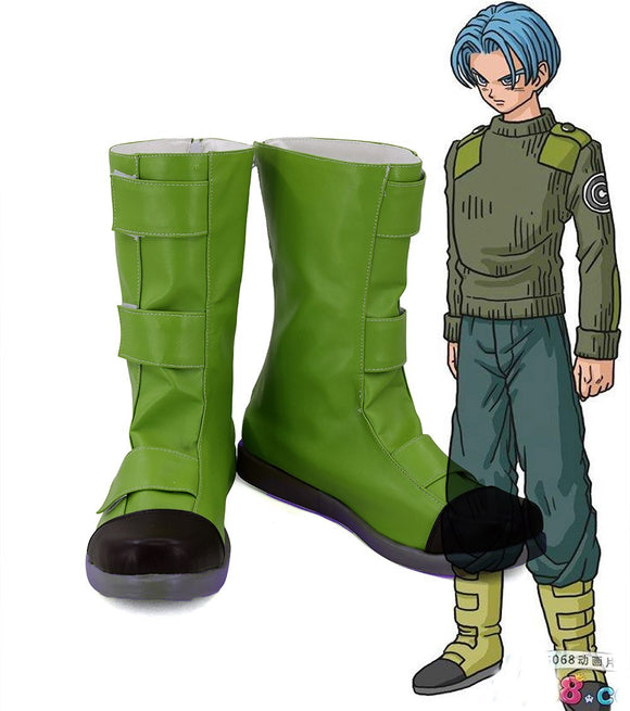 Dragon Ball Super Future Trunks Mirai no Torankusu Cosplay Boots Green Shoes Custom Made