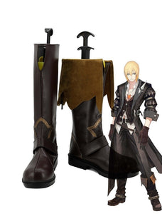 Tales of Berseria Eizen Cosplay Boots Brown Shoes Custom Made