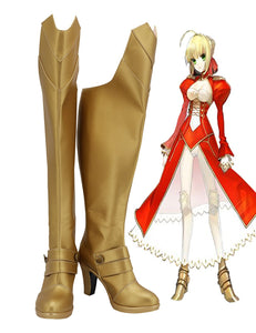 Fate Extra Nero Claudius Red Saber Cosplay Boots Golden High Heel Shoes Customized Over-Knee Boots