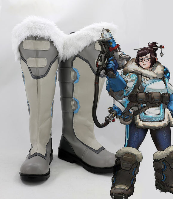 Overwatch OW Pioneer 76 Soldier Mei Cosplay Boots Leather Shoes with Wool Custom Made