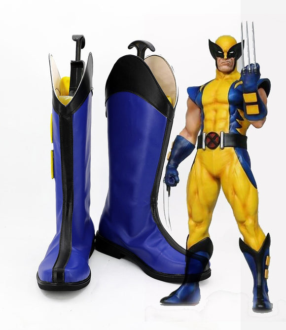 X-Men Logan Cosplay Boots Blue Shoes Custom Made Any Size