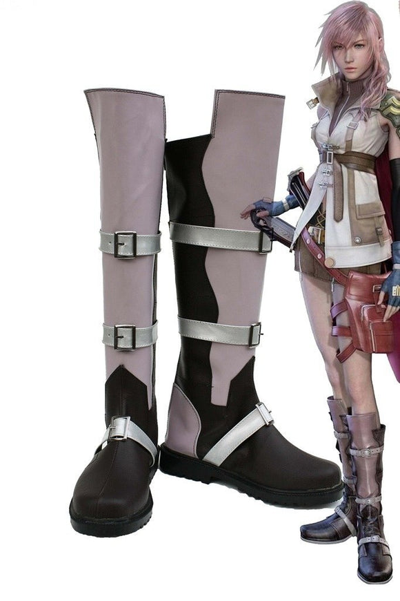 Final Fantasy XIII FF13 Lightning Cosplay Boots Leather Shoes Custom Made