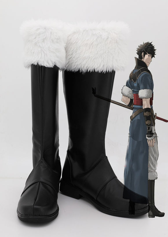 Fire Emblem: Awakening Lon'qu Lon'zu Cosplay Boots Black Shoes Custom Made Any Size