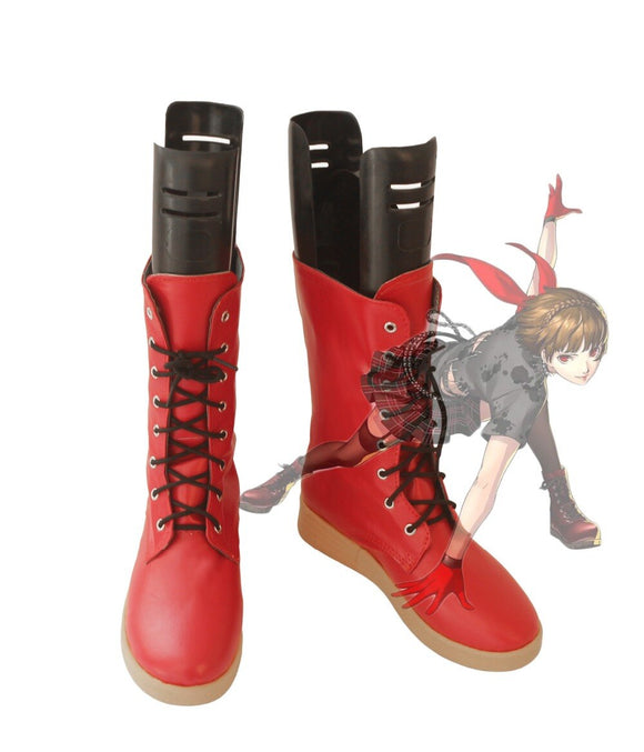 Persona 5 Dancing Star Night Queen Makoto Niijima Cosplay Boots Red Shoes Custom Made