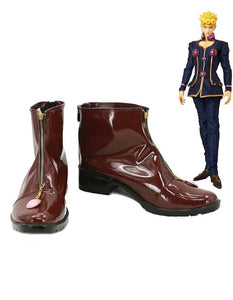JOJO'S BIZARRE ADVENTURE Giorno Giovanna Cosplay Boots Brown Shoes Custom Made