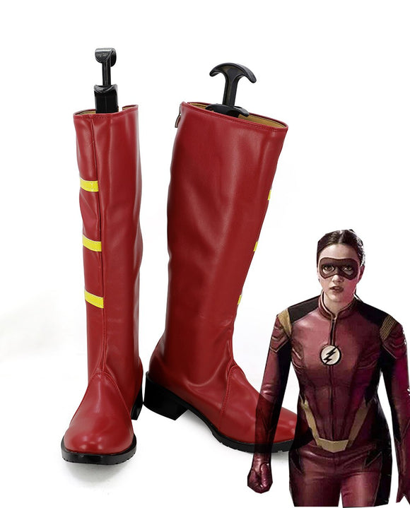 The Flash Season 3 Jesse Quick Chambers Cosplay Long Boots Red Shoes Custom Made