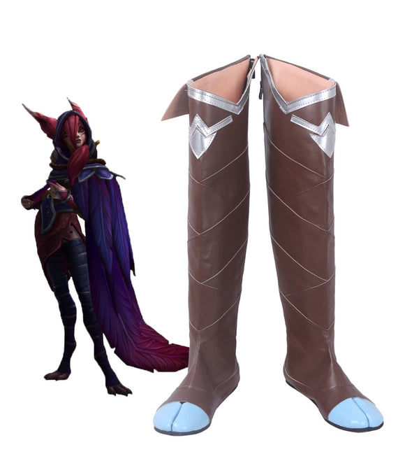 League of Legends LOL Xayah The Rebel Cosplay Overknee Boots Brown Shoes Custom Made