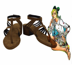 JoJo's Bizarre Adventure 6 Jolyne Cujoh Cosplay Shoes Brown Sandals Custom Made Any Size