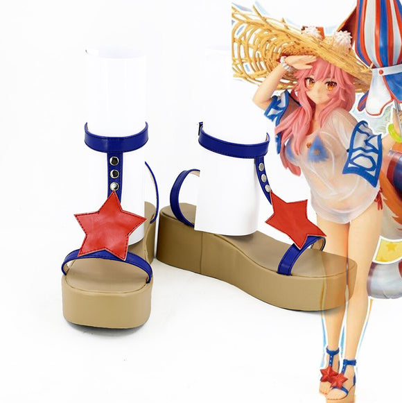 Fate Grand Order FGO Tamamo no Mae Cosplay Shoes Leather Sandals Custom Made