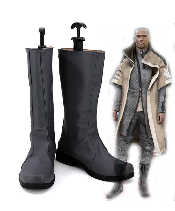 Detroit Become Human Markus Cosplay Boots Grey Shoes Custom Made