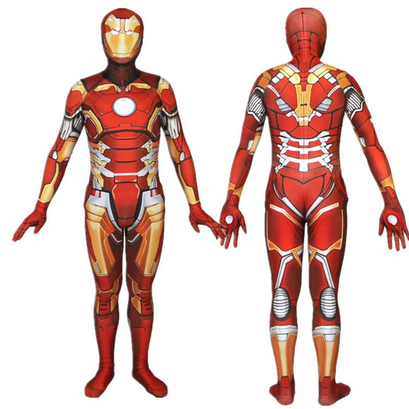 Iron Man Cosplay Costume 3D Printing Superhero Iron Man Bodysuit Jumpsuits Halloween Cosplay