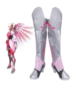 Overwatch OW Mercy Angela Ziegler Pink Skin Cosplay Boots Leather Shoes Halloween Party Props Custom Made