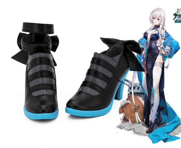 Azur Lane HMS Belfast Spring Cosplay Shoes High Heel Black Boots Custom Made
