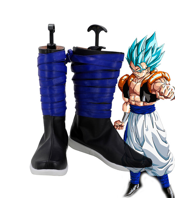 Dragon Ball Z Gogeta Cosplay Boots Blue Shoes Custom Made Any Size