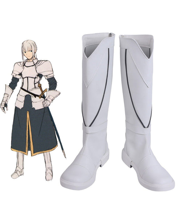 Fate Stay Night FGO Saber Bedivere Cosplay Boots White Leather Shoes Custom Made
