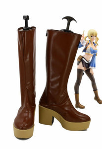 Fairy Tail Lucy Cosplay Boots High Heel Brown Shoes Custom Made