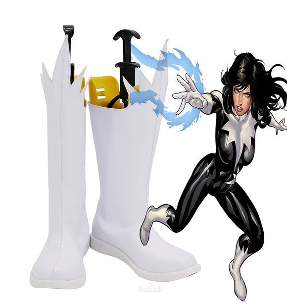 Superhero Polaris Lorna Dane Cosplay Boots White Shoes Custom Made