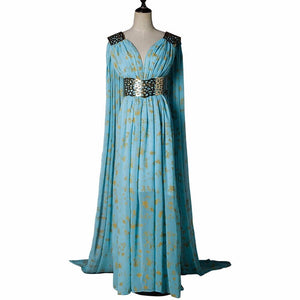 Game of Thrones Daenerys Targaryen Mother of Dragons Blue Chiffon Dress Cosplay Costume