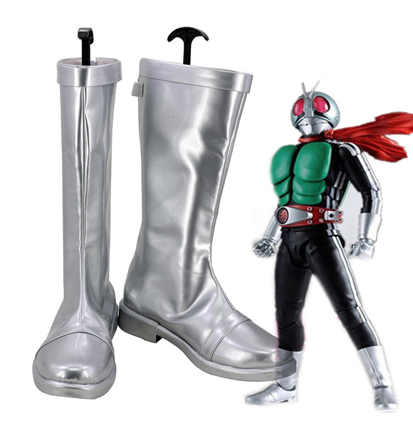 Kamen Rider 1 Cosplay Boots Silver Shoes Masked Rider 1 Boots Custom Made Any Size
