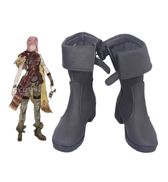Lightning Returns: Final Fantasy13 Lightning Eclair Farron Cosplay Boots Grey Shoes Custom Made
