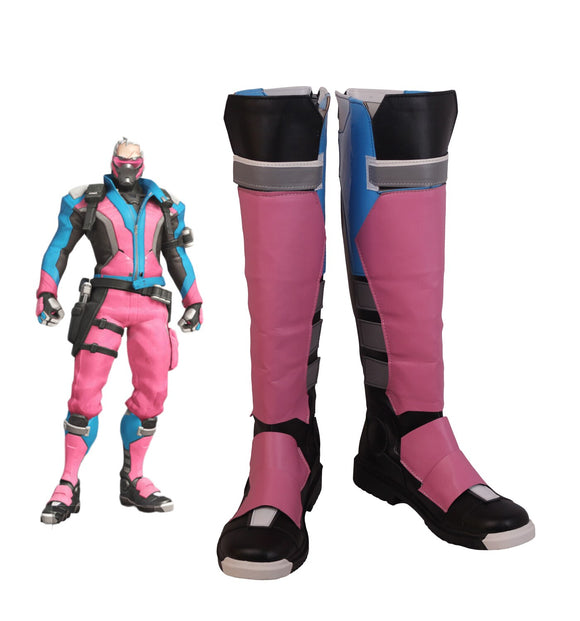 Overwatch OW Soldier 76 Cosplay Boots Pink Shoes Custom Made Halloween Carnival Party Cosplay Costume Accessory
