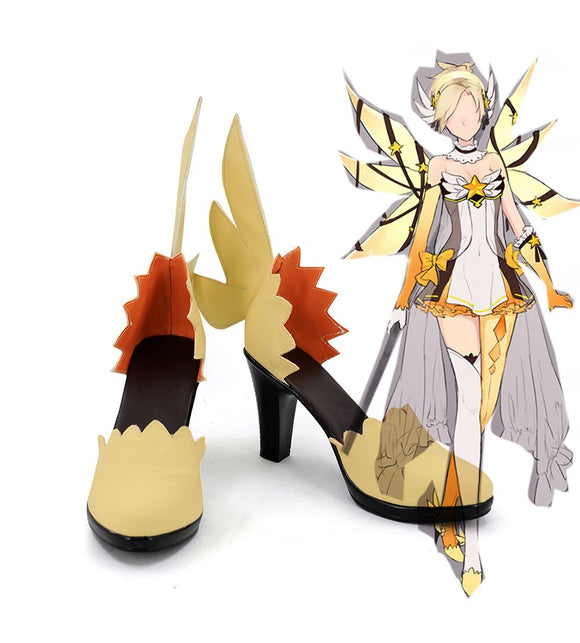 Overwatch OW Legend Mercy Angela Ziegler Cosplay Shoes Yellow Boots Custom Made