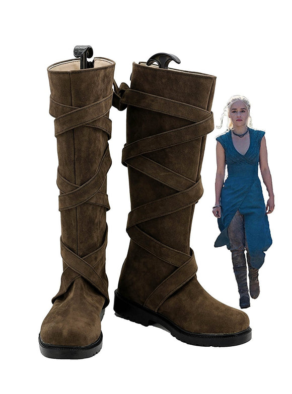Game of Thrones Daenerys Targaryen Cosplay Boots Brown Shoes Custom Made