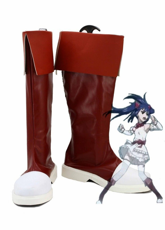 Fairy Tail Wendy Marvell Cosplay Boots Red Leather Shoes Custom Made