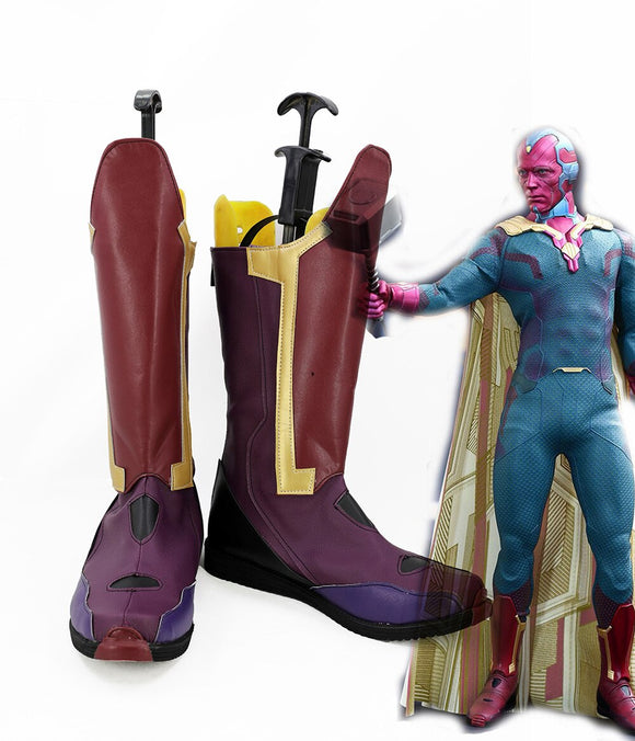 Superhero The Avengers Infinity War Vision Cosplay Boots Shoes Custom Made Any Size