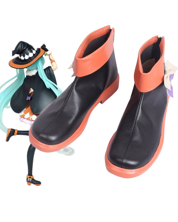 Vocaloid Hatsune Miku Halloween Cosplay Boots Leather Shoes Custom Made Any Size