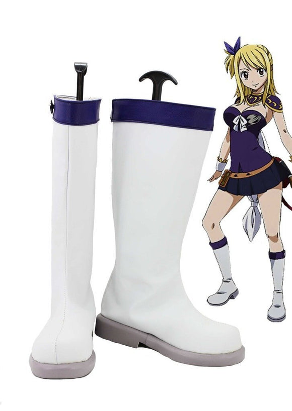 Fairy Tail Lucy Cosplay Boots White Shoes Custom Made